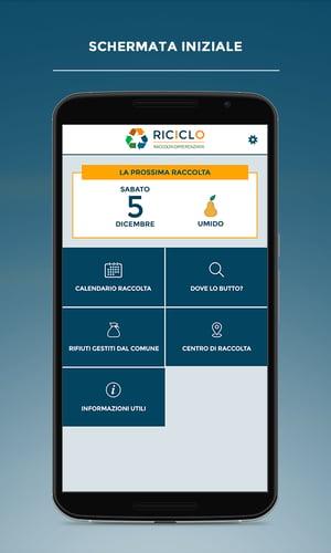 app riciclo schermata iniziale